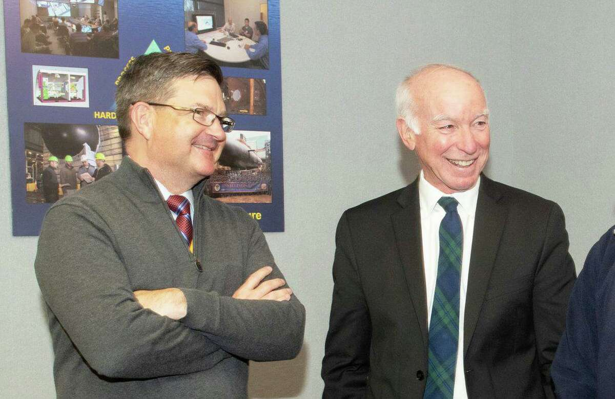 Kevin Graney (L), president of General Dynamics Electric Boat, with U.S. Rep. Joe Courtney, D-Conn., in December 2019. (Press photo via U.S. Rep. Joe Courtney)