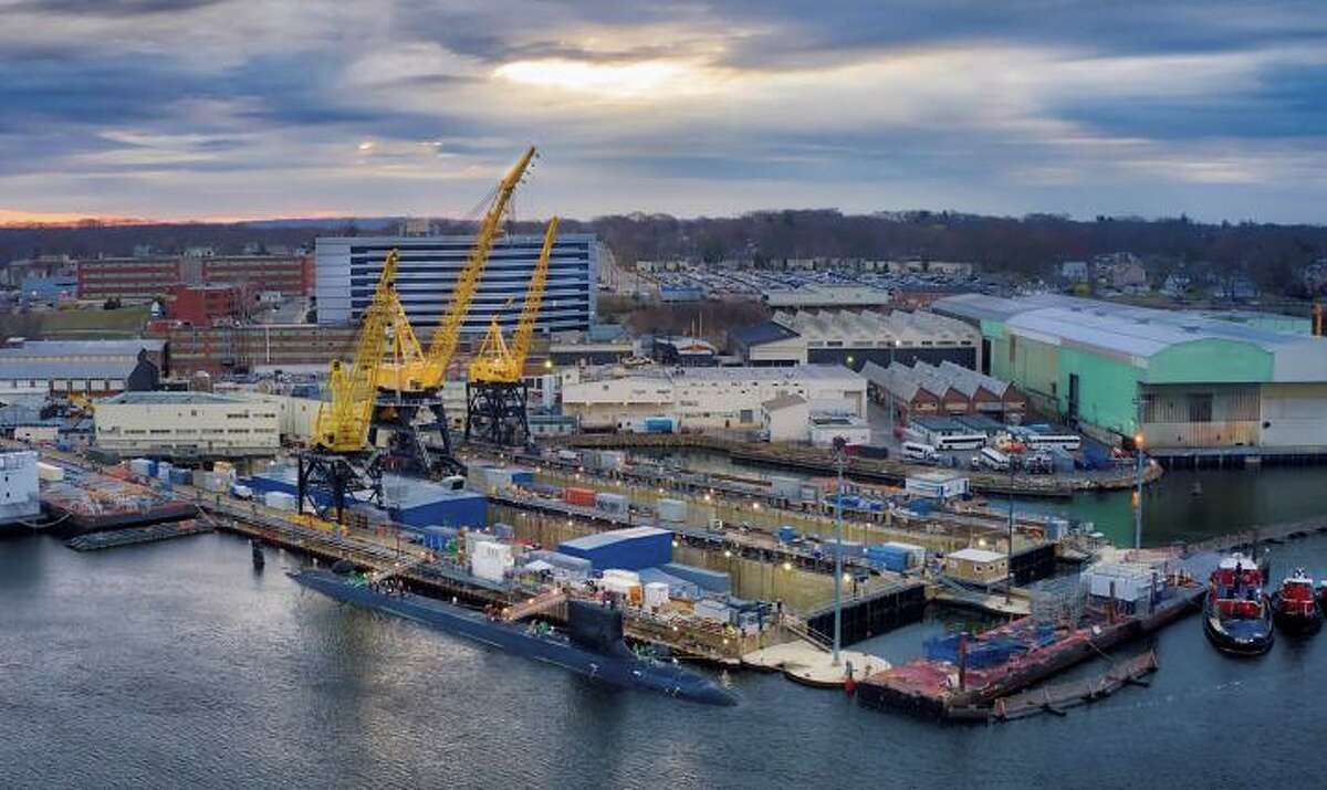 The Electric Boat submarine yard operated by General Dynamics in Groton, Conn. (Screenshot via Electric Boat Zoom presentation)