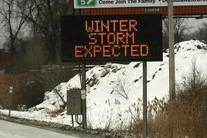 Electronic signs along I-90 urge urge drivers to avoid travel today due to an expected Nor'easter snow storm on Monday, Feb. 1, 2021 in Albany, N.Y. (Lori Van Buren/Times Union)
