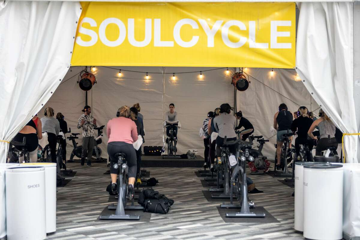 People take an outdoor Soulcycle class at The Backyard at Hudson Yards on November 22, 2020 in New York City.