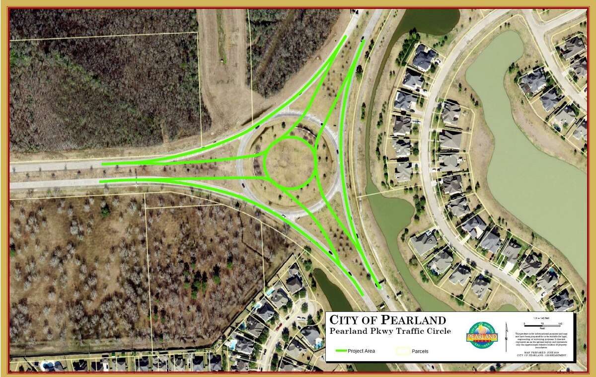 A project is scheduled to begin in March to convert a traffic circle at the intersection of Pearland Parkway and McHard Road to a smaller roundabout in an effort to slow traffic and prevent accidents.