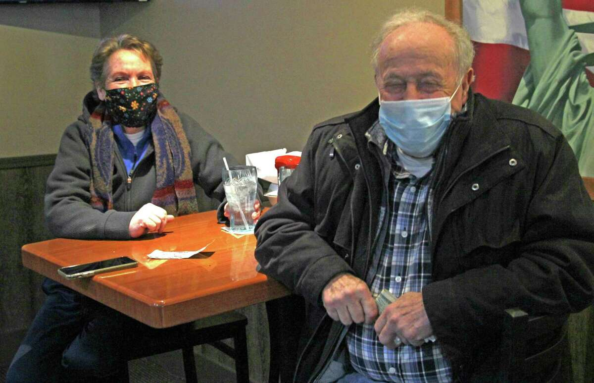 Marje Murdock and Fred Ziehm stopped for luch at the Bad Axe Steakhouseon Monday. Michigan restaurants reopened their dining rooms at 25% capacity on Monday after an 11-week shutdown prompted by a surge in COVID-19 cases in mid-November. (Mark Birdsall/Huron Daily Tribune)