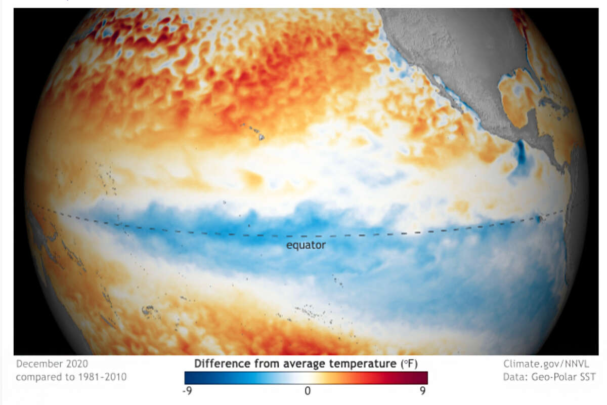 Sea surface temperatures from December 2020 compared to average temperature. The cooler waters in the tropical Pacific Ocean are indicative of La Niña.