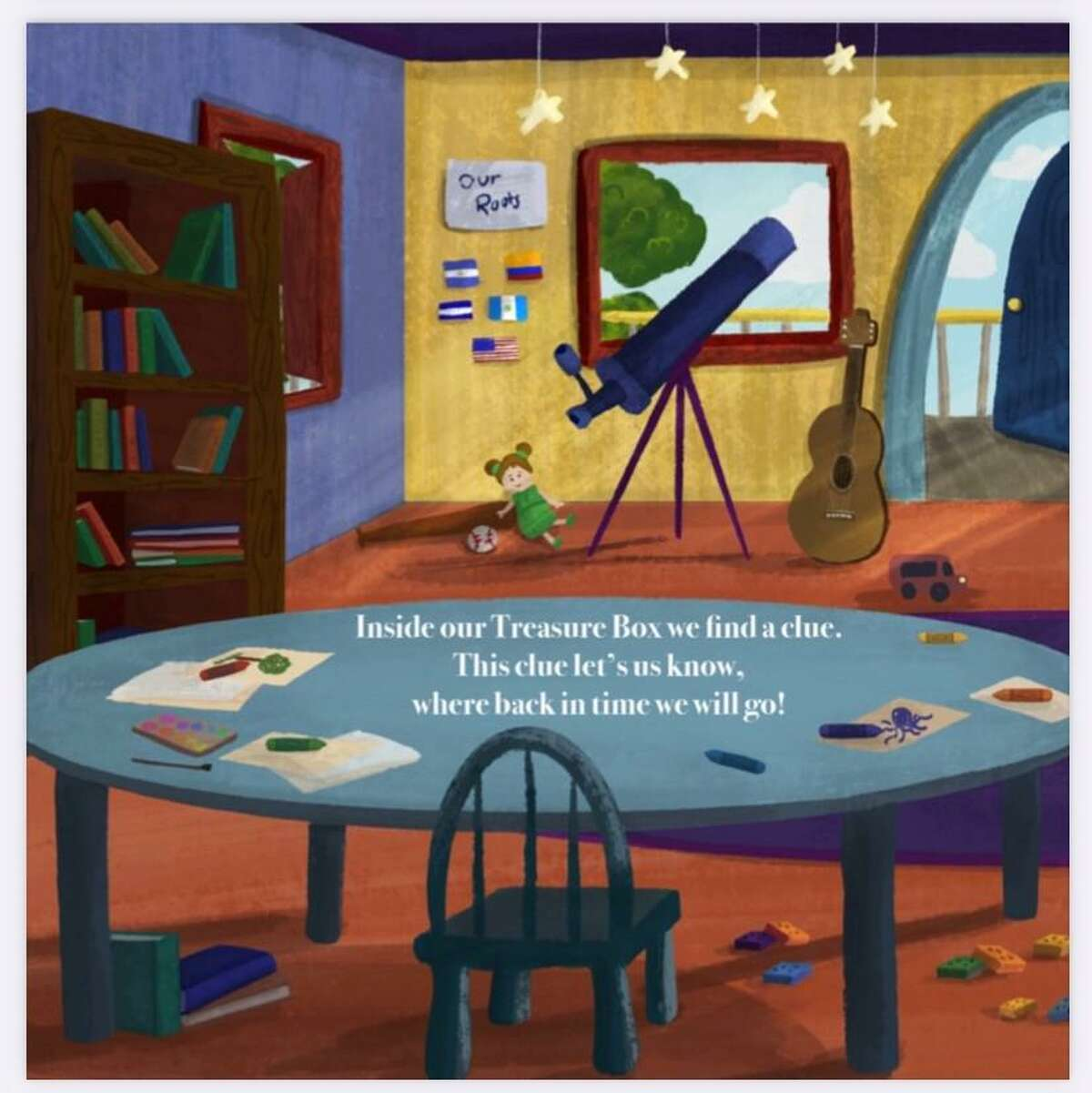 Several things in one of the rooms in Carmen Ortega and Landon Medina's book represents things special to Medina. Also, the room features flags that represent Medina's cultural history. The book was illustrated by Rocio Ortiz.