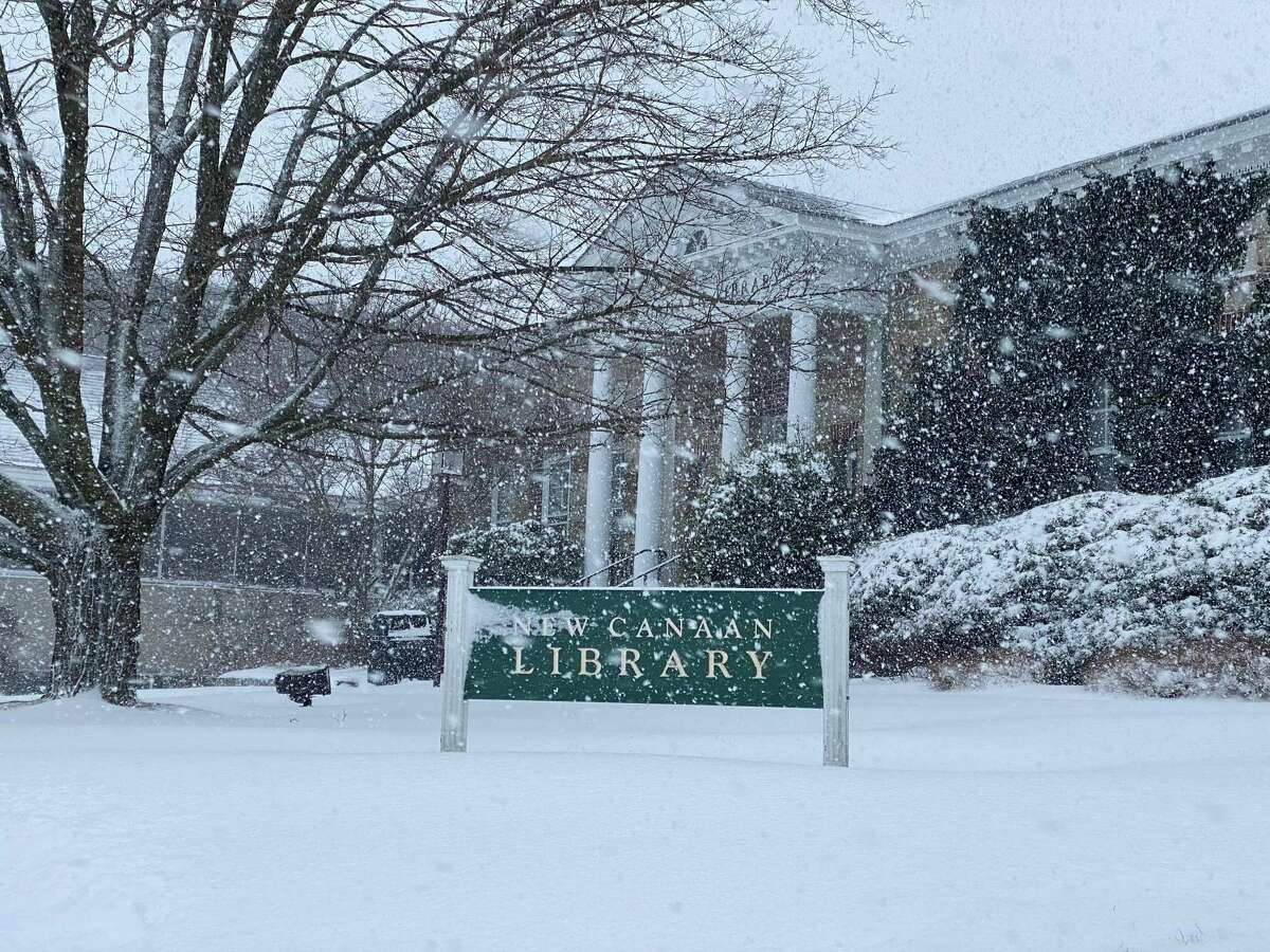 New Canaan Library in the snow on Feb. 1, 2021.
