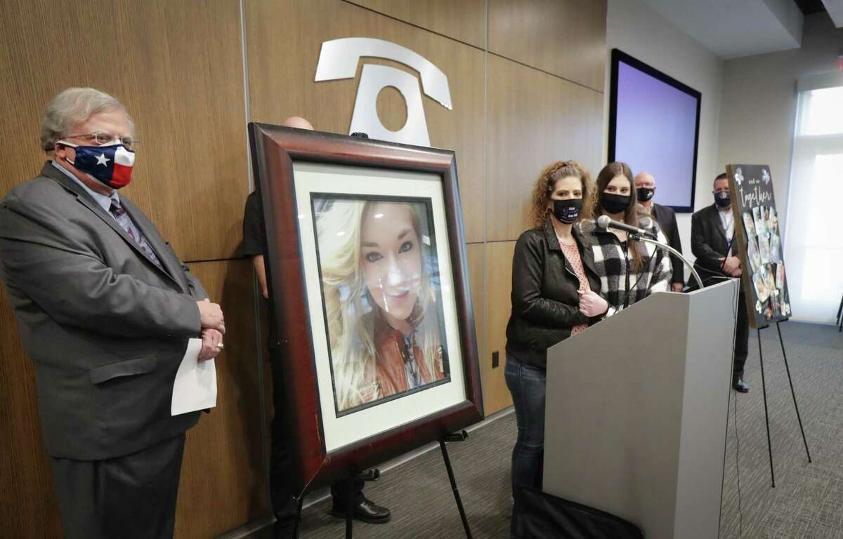 """Senator Paul Bettencourt (left-right) listens to Melanie Infinger talk about her daughter Caitlynne (photo on left) with her other daughter, Madison Marchand during a press conference to announce """"Caitlynne's"""" bill filing on Personal Recognizance Bonds Monday, Feb. 1, 2021, in Houston."""