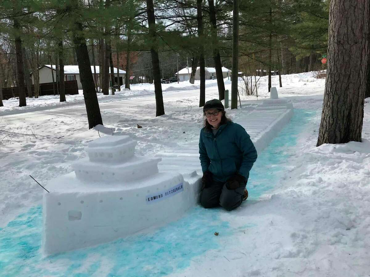 Local resident Fran Kantar created this 40-foot long snow sculpture of the Edmund Fitzgerald in her front yard after the recent snowfall. (Submitted photo)