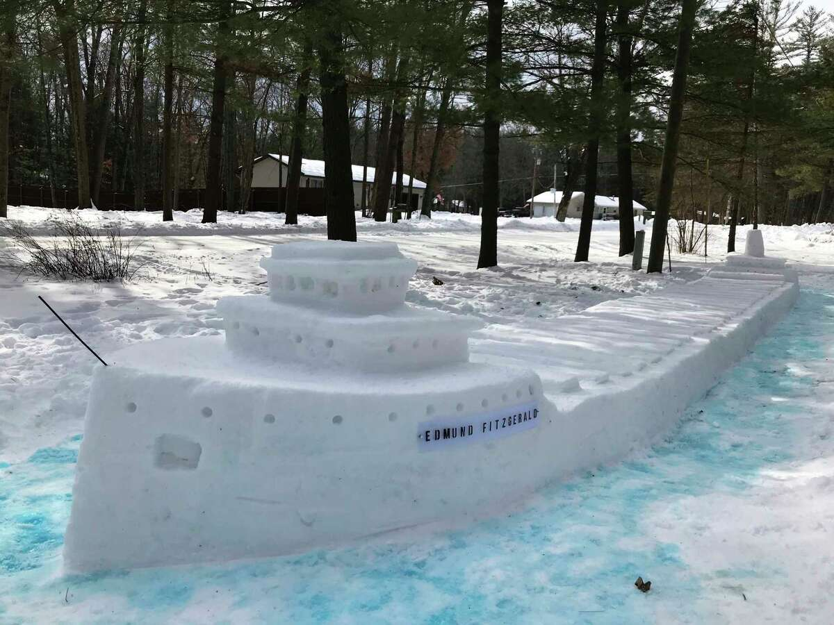 This 40-foot long snow sculpture of the Edmund Fitzgerald was done by local resident Fran Kantar. Kantar has a degree in Studio Arts and does pottery, painting, and drawing, as well as many other crafts. (Submited photo)