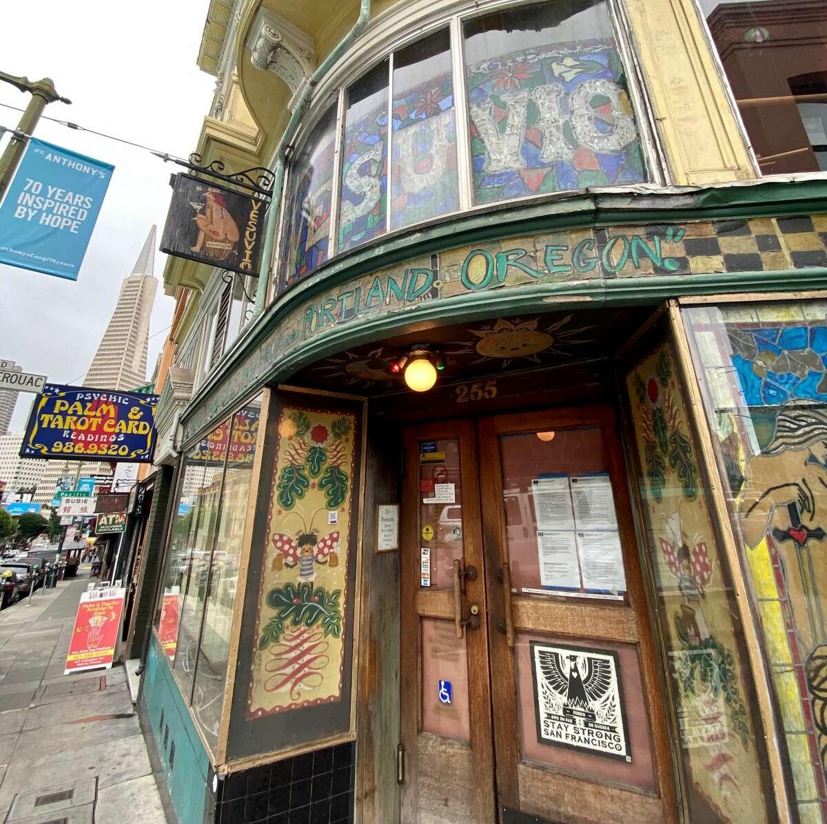 Vesuvio Cafe, 255 Columbus Ave., San Francisco, January 2021.