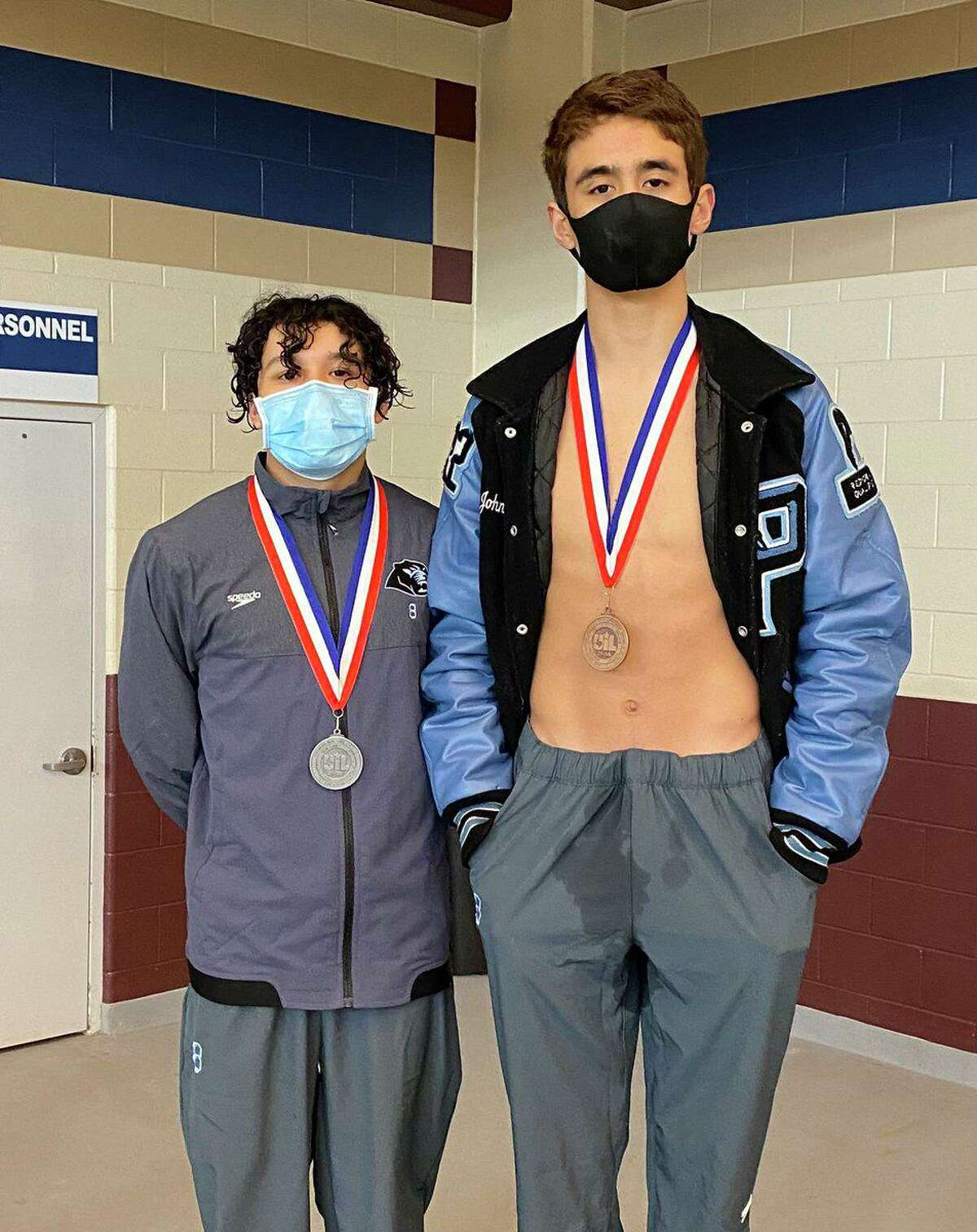 Paetow's Kalen Velazquez and Johnny Pleites finished second and third, respectively, in the 1-meter diving event at the District 21-5A championships. Both advance to the Region VI-5A meet.