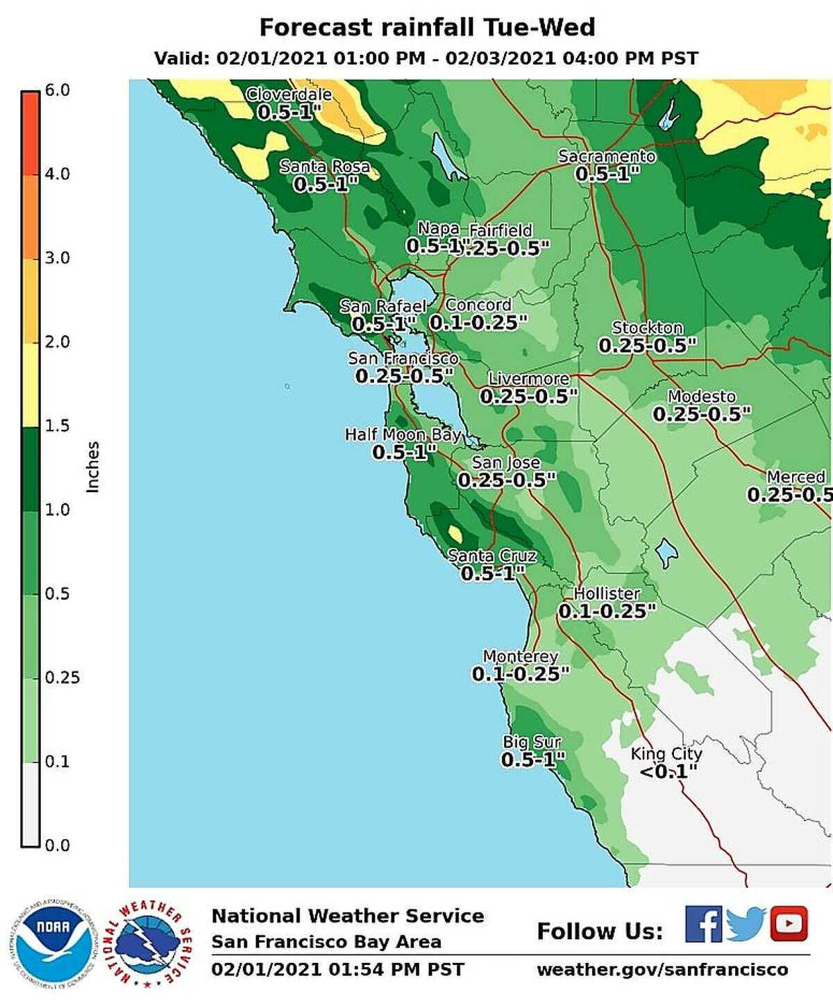 Forecasted rainfall totals from Monday, Feb. 1 through Wednesday, Feb. 3.