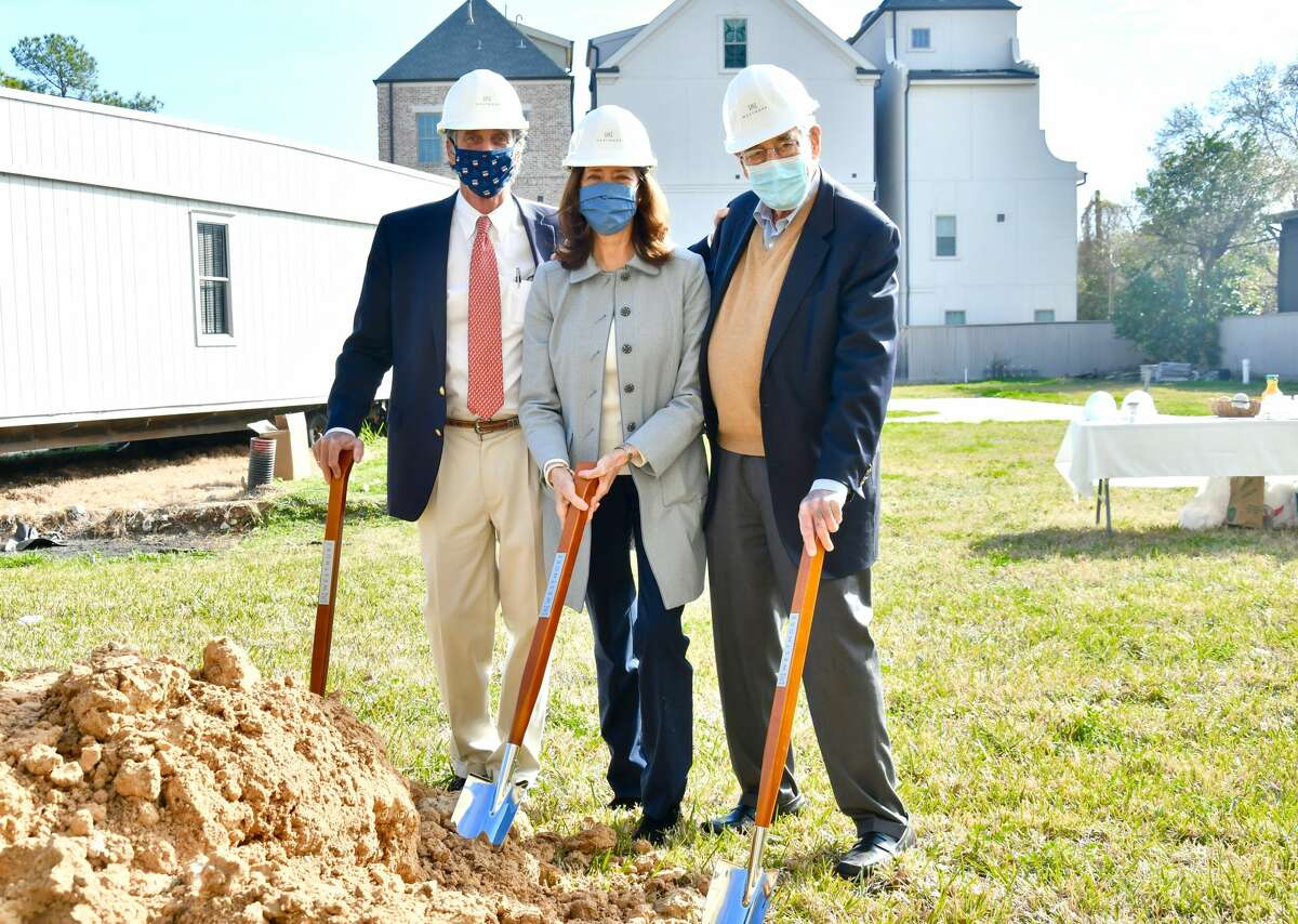 Robert F. Bland Jr., Brenda Bland Wilson and Robert F. Bland Sr. of Pelican Builders break ground on The Westmore, a 33-unit condominium at 2323 W. Main on Thursday, Jan. 28, 2021.