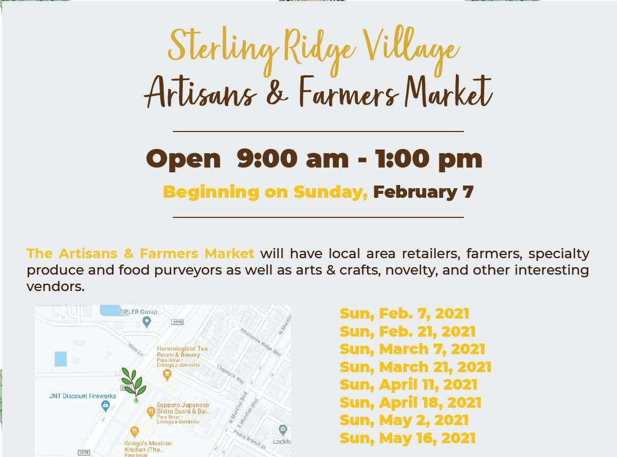 The Woodlands is experiencing a flood of new farmers markets, with the second new market in 2021 slated for opening on Sunday, Feb. 7, in the Village of Sterling Ridge. The twice-monthly event, hosted in the parking lot of the Colonnade Shopping Center, begins at 9 .a.m. and will feature a wide range of food and craft vendors.