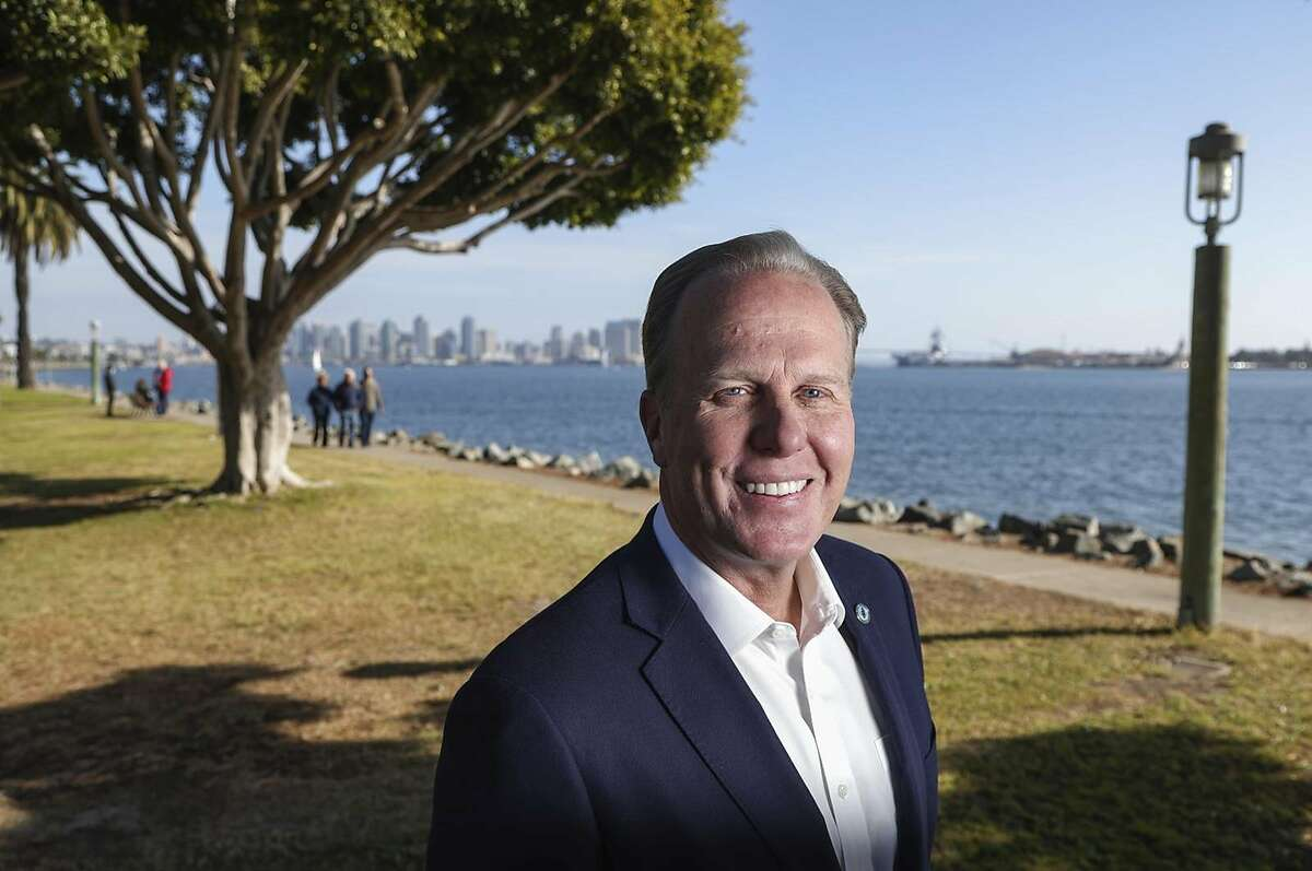 Kevin Faulconer visits San Diego's Harbor Island in December. Elected twice as mayor of the city that skews Democratic, he was termed out last year.