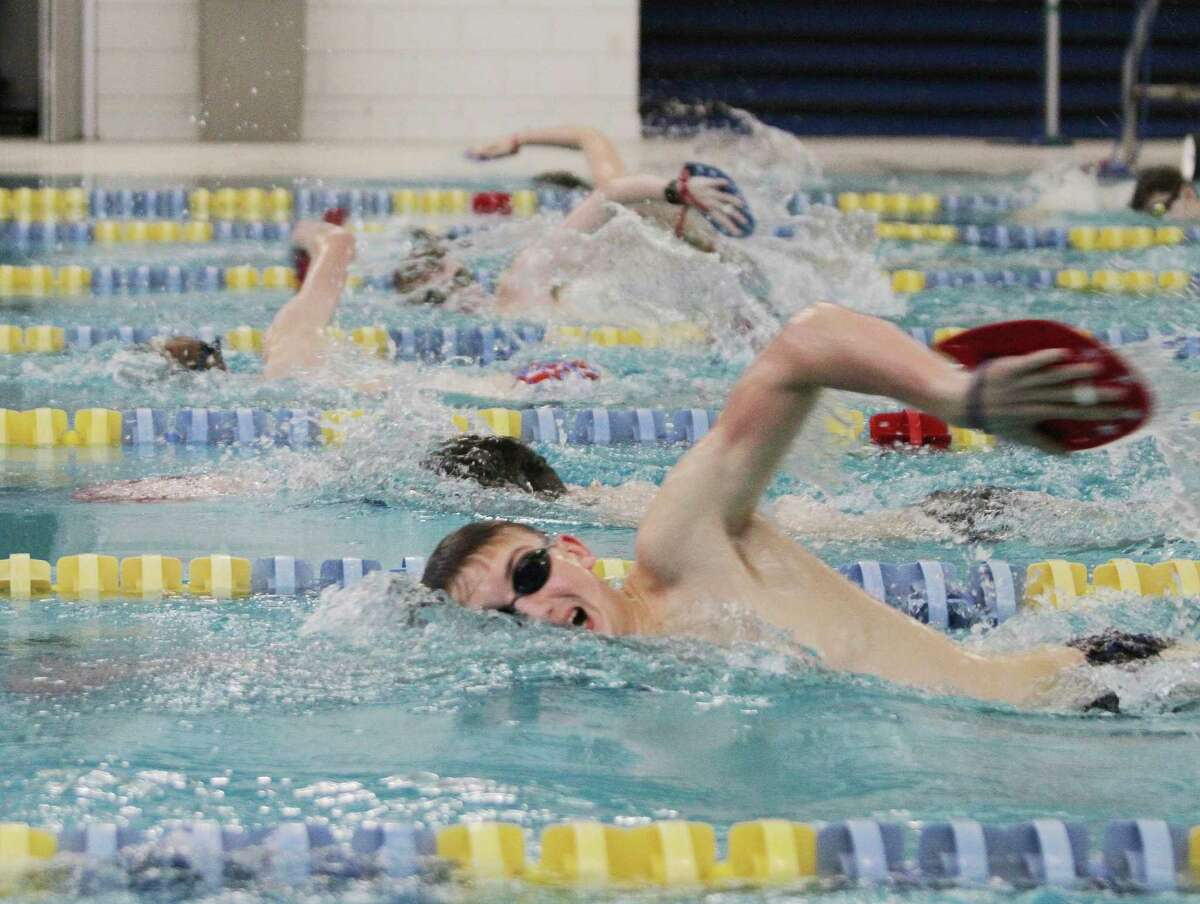 The Manistee boys swimming/diving team has canceled this week's scheduled meets due to a COVID-19 related quarantine of its swimmers. Pictured are the Chippewas practicing in January. (News Advocate file photo)