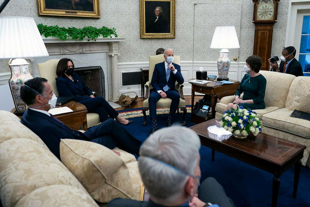 President Biden and Vice President Kamala Harris met with Republican senators in the Oval Office on Monday.