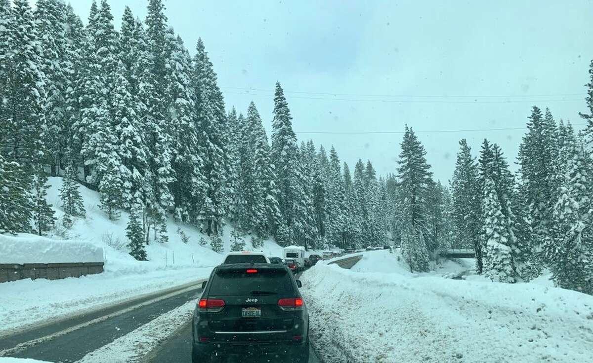 Ski traffic was gridlocked on Highway 89 in Tahoe last weekend.
