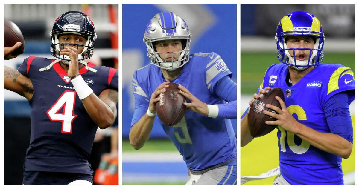 The trade sending Matthew Stafford, center, to the Rams and Jared Goff, right, to the Lions could help heat up the market for teams interested in acquiring Texans quarterback Deshaun Watson.