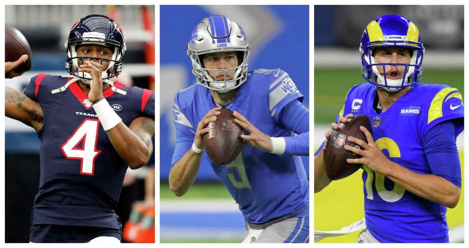 The trade sending Matthew Stafford, center, to the Rams and Jared Goff, right, to the Lions could help heat up the market for teams interested in acquiring Texans quarterback Deshaun Watson. Photo: Houston Chronicle And Gety Images