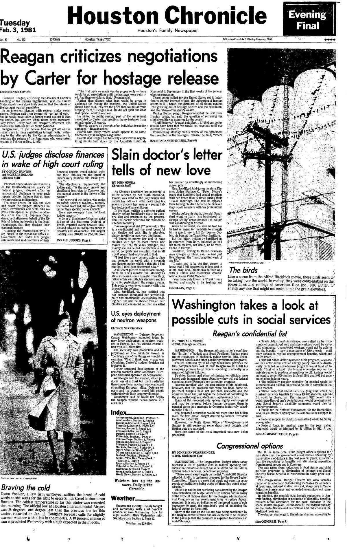 Houston Chronicle front page from Feb. 3, 1981.