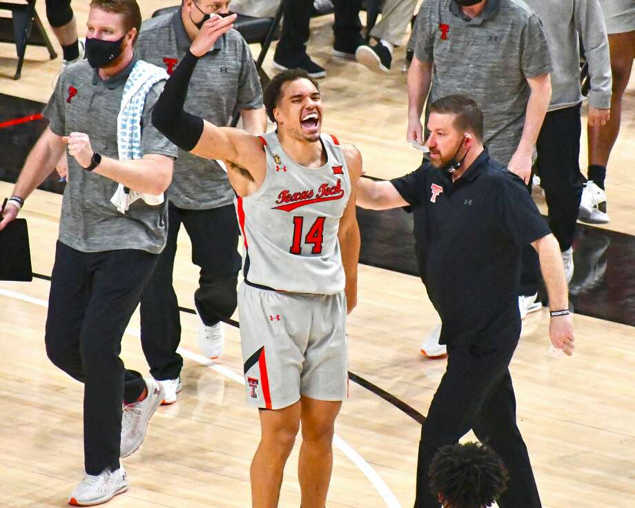 Marcus Santos-Silva tries to get the crowd pumped up during Texas Tech's 57-52 Big 12 victory over Oklahoma on Monday in the United Supermarkets Arena at Lubbock. Photo: Nathan Giese/Planview Herald