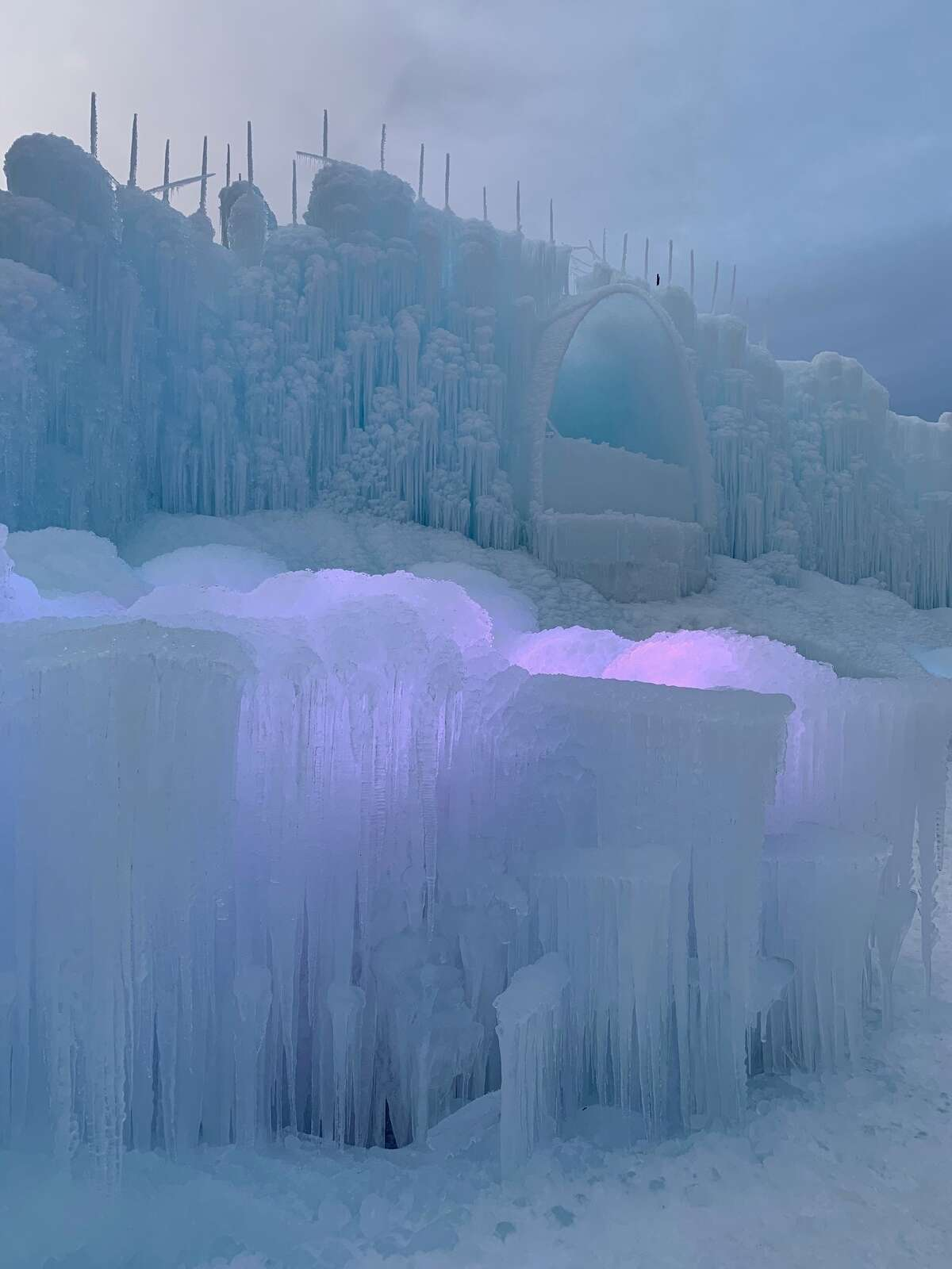 Artists put together the New Hampshire Ice Castle one icicle at a time.