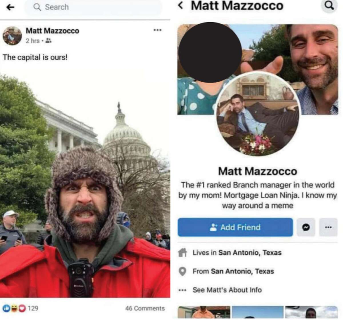 Video of Matthew Mazzocco, a San Antonio resident, appeared in videos of him at the Capitol riot, according to court documents.