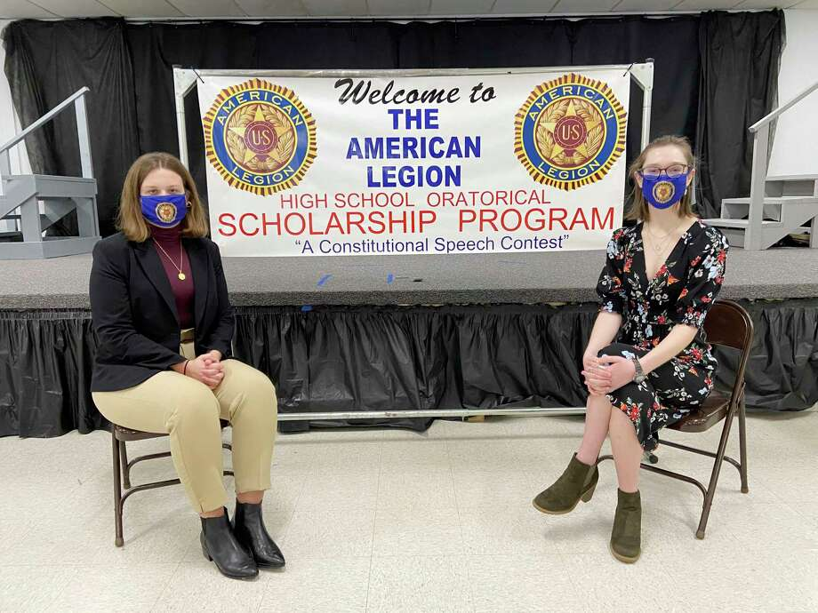 (From left) Big Rapids High School seniors Ella Engquist and Tennessee Swearingen recently participated in the National American Legion Oratorical Contest. Hosted by the American Legion Post 98 and the local Eagles, the contest featured speeches on the Constitution and the Amendments. Engquist captured first place with Swearingen earning the runner-up spot. Both will compete at the Regional Finals at the Prudenville American Legion Post 245, with a chance at going to the State Finals on March 6 at Gerald R. Ford Museum in Grand Rapids. (Courtesy photo)