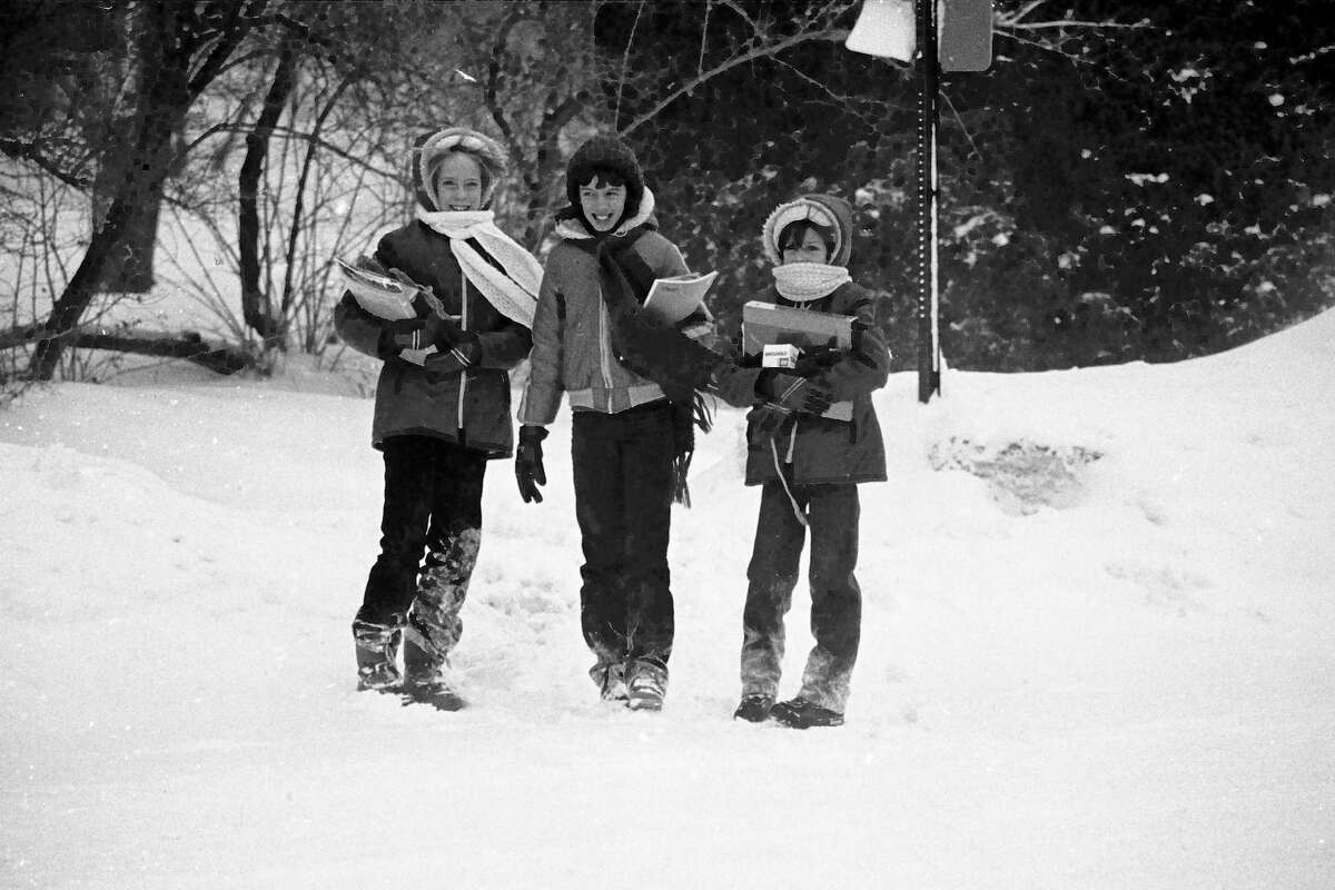 From the Feb. 3, 1981 issue of the News Advocate, though the temperature is still frigid, and the winds are still blowing, it was back to classes as usual for the students in the Manistee public and parochial school systems today. Jefferson School students LeAnne Edmonson (left), Sheila Bajtka (center) and Tina Edmonson bundle up against the cold as they walked to school this morning. (Manistee County Historical Museum photo)