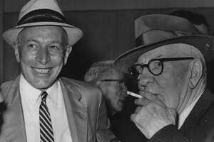 Albany, New York Mayor Erastus Corning with Dan O'Connell. June 23, 1961 (Knickerbocker News Staff Photo/Times Union Archive)
