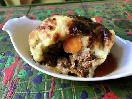 Pork cheek shepherds pie with peas, leeks and carrots from 93 Til