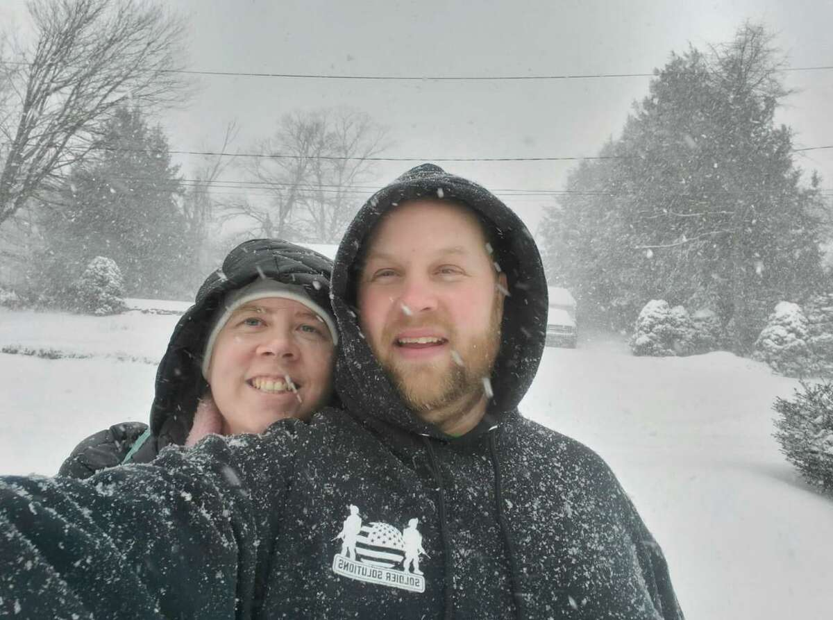 Chelsea Kinsella and John Waters enjoying the wonderful winter weather.