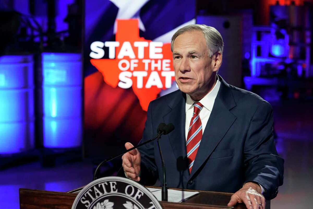 Texas Gov. Greg Abbott prepares to deliver his State of the State speech at Visionary Fiber Technologies, for the first time outside the Capitol, Monday, Feb. 1, 2021, in Lockhart, Texas.