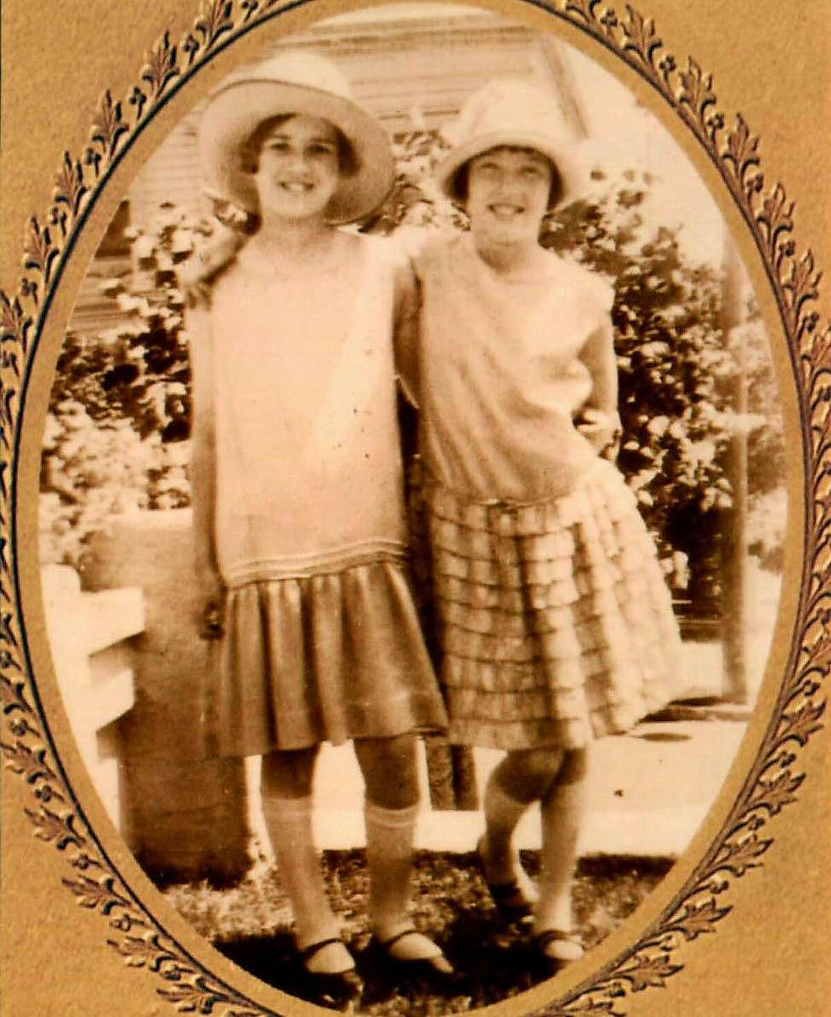 Dixie Belletto (right) with her friend Marie Van Tassell in front of Belletto's home on Fair Oaks Street in San Francisco.