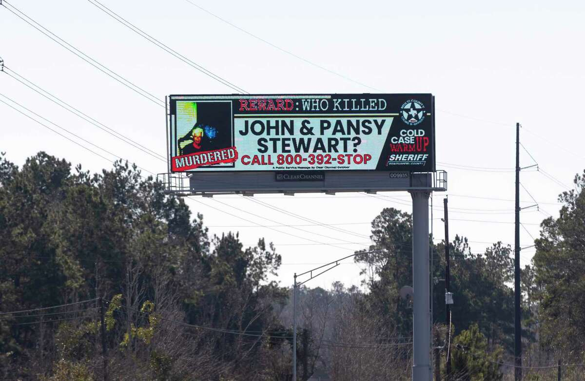 A digital billboard displays John and Pansy Stewart alongside IH-45 South during a press conference with Clear Channel Outdoor and the Montgomery County Sheriff's Office, Tuesday, Feb. 2, 2021, in Conroe. John and Pansy Stewart were murdered over 25 years ago in their home and will be the first case highlighted on billboards from Clear Channel Outdoor.