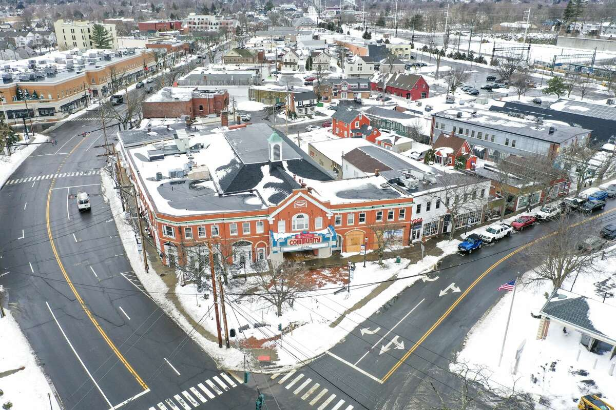 Aerial drone photos show downtown Fairfield on Feb. 2, 2021 after a snow storm hit the area the day before.