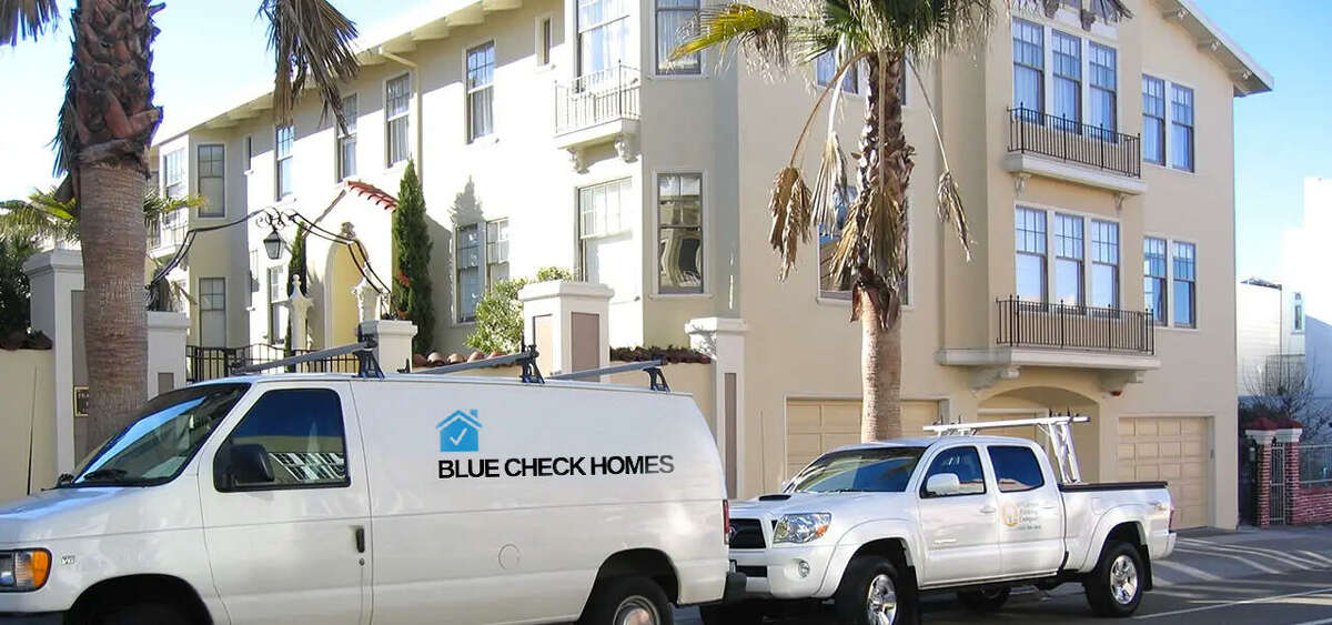 """""""Blue Check Homes,"""" a satirical website crafted by San Francisco artist Danielle Baskin, unexpectedly encouraged hundreds of residents to apply to have a """"Verified Badge crest"""" installed on the facade of their homes."""