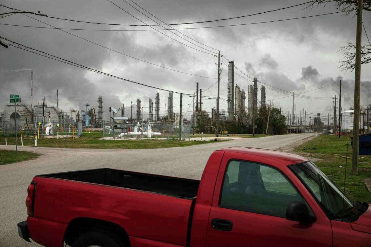 A view of ExxonMobil's sprawling Baytown Complex in Baytown, Texas. ExxonMobil, Shell, BP, and Chevron all issued statements of support for President Joe Biden's decision to rejoin the Paris Agreement on climate change.