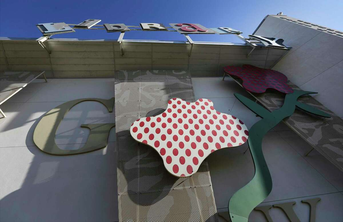 Images of the Maury Maverick branch library which features artwork created by Henry Rayburn. MAP Guide to the public art on the northside, including the art blinds created for the new Robert L.B. Tobin Land Bridge at Phil Hardberger Park.