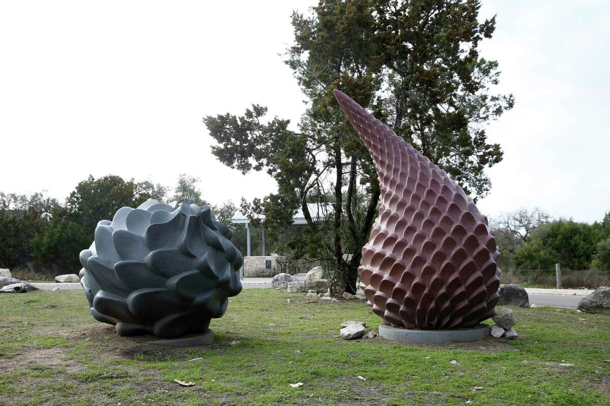 "Jon Ishwerwood's ""Sotol Duet,"" granite sculptures greet visitors at Panther Springs Park off Wilderness Oaks, Friday, Jan. 29, 2021."