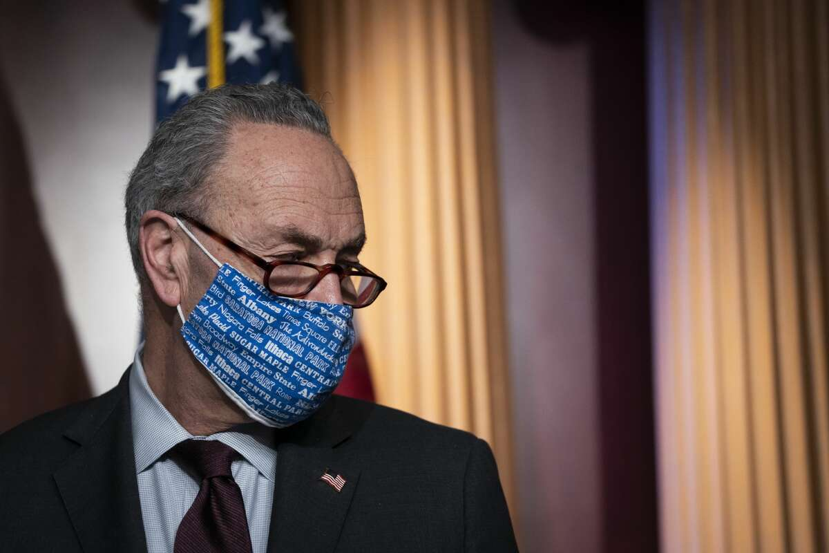 WASHINGTON, DC - FEBRUARY 2: Senate Majority Leader Chuck Schumer (D-NY) attends a press conference after a meeting with Senate Democrats at the U.S. Capitol on February 2, 2021 in Washington, DC. (Photo by Drew Angerer/Getty Images)