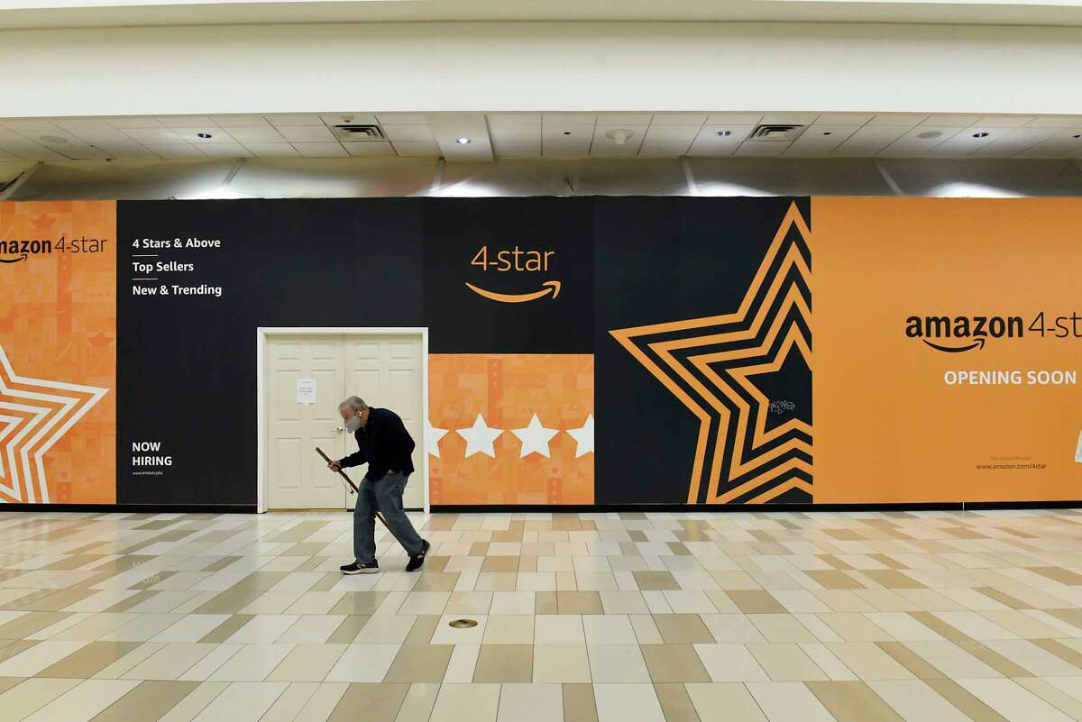 A construction wall covers the entrance to the new Amazon 4-star store at Crossgates Mall on Tuesday, Feb. 2, 2021 in Guilderland, N.Y. The store, which will open Wednesday, is the second in New York State. (Lori Van Buren/Times Union)