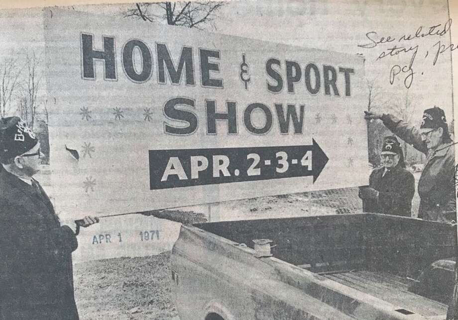 Midland Area Shrine Club members Paul Wilson, left, A.H. Hutchinson, center, and Richard Thrune. The club is sponsoring the Home & Sport Show. April 1971 Photo: Daily News File Photo
