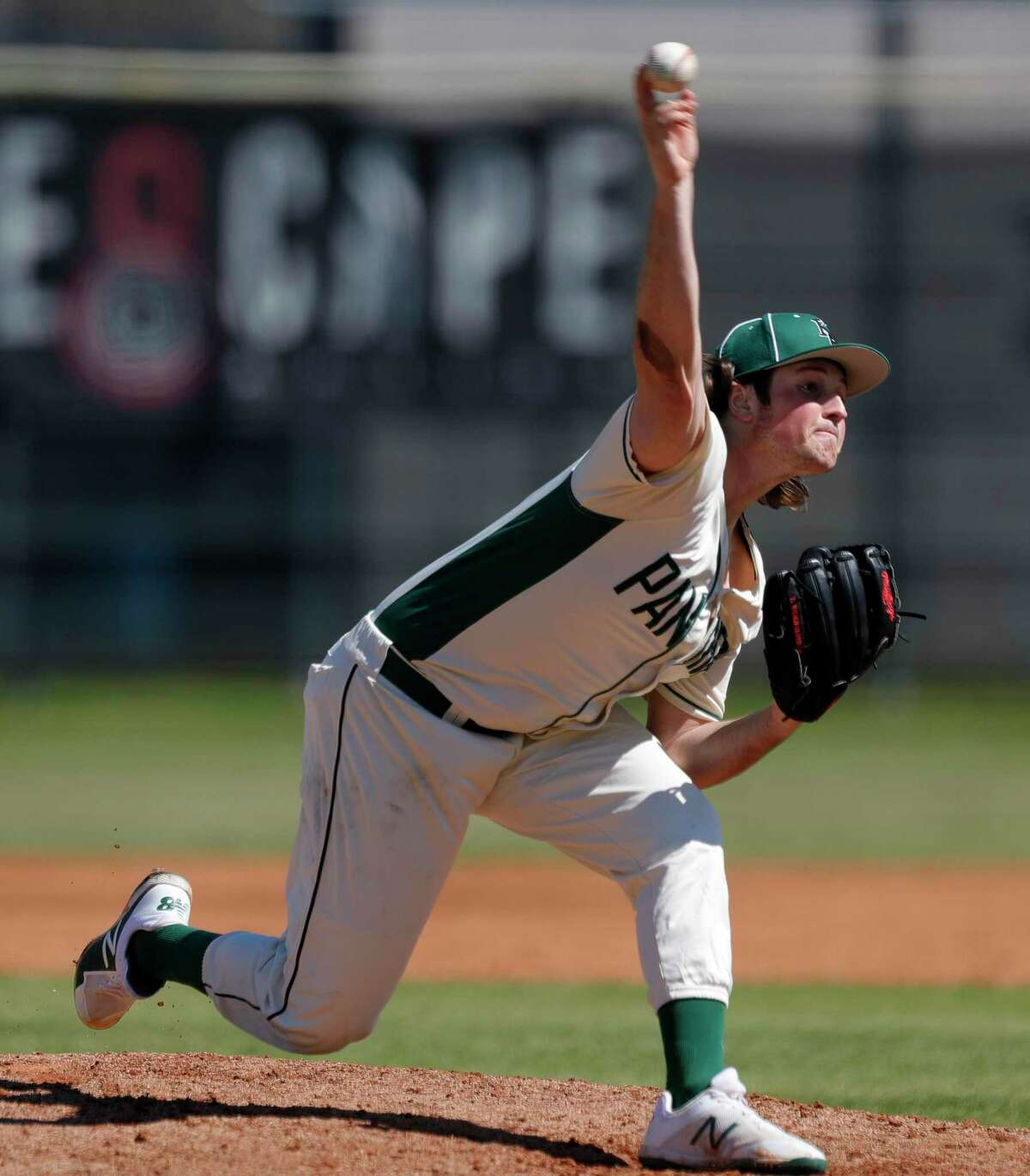 Kingwood Park pitcher Tyler Ward (5) throws during a non-district high school baseball game at Kingwood Park High School, Thursday, Feb. 27, 2020, in Kingwood. The Woodlands defeated Kingwood Park 10-0.