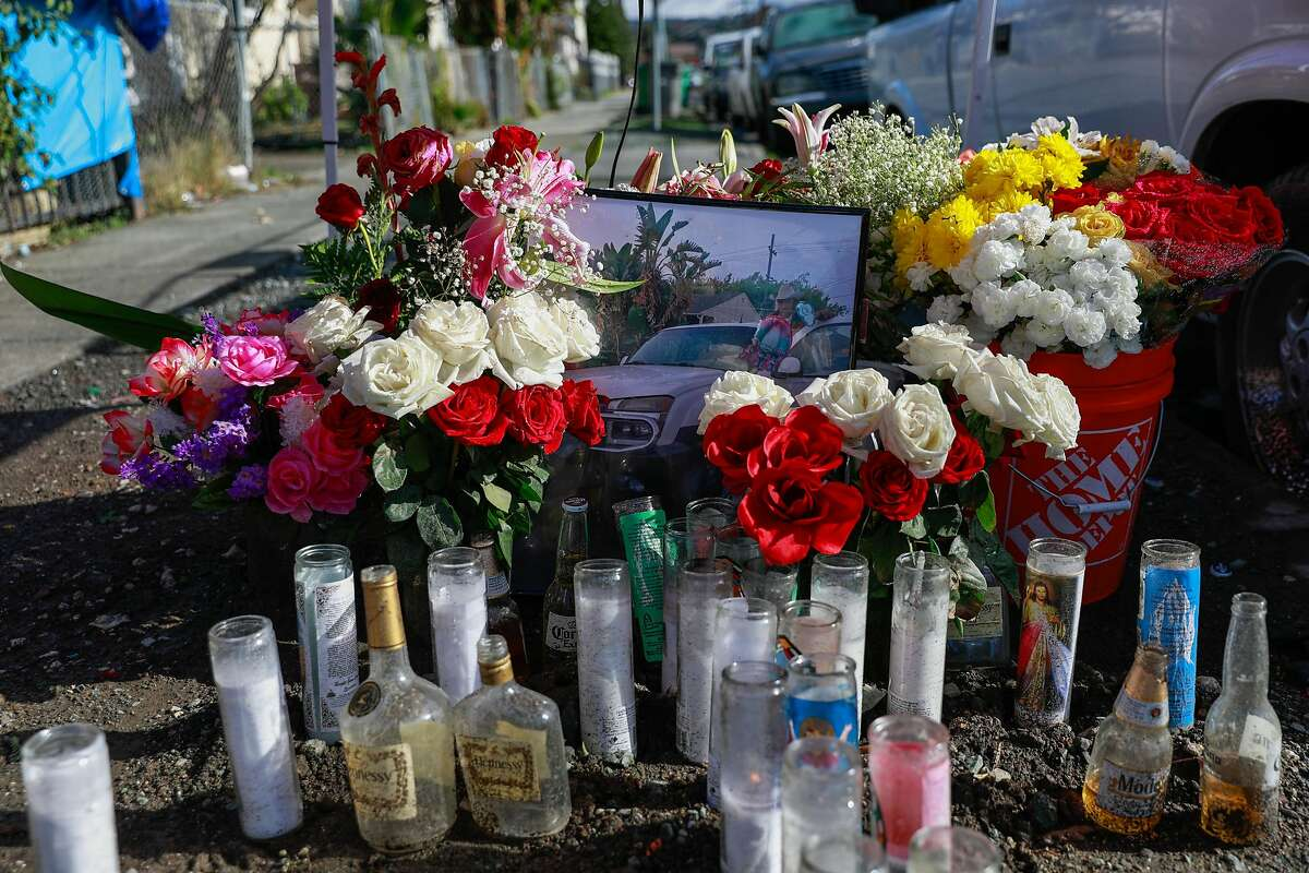 A memorial at the site of a homicide on the 1200 block of 88th Avenue in Oakland, California on Friday, Jan. 29, 2021.