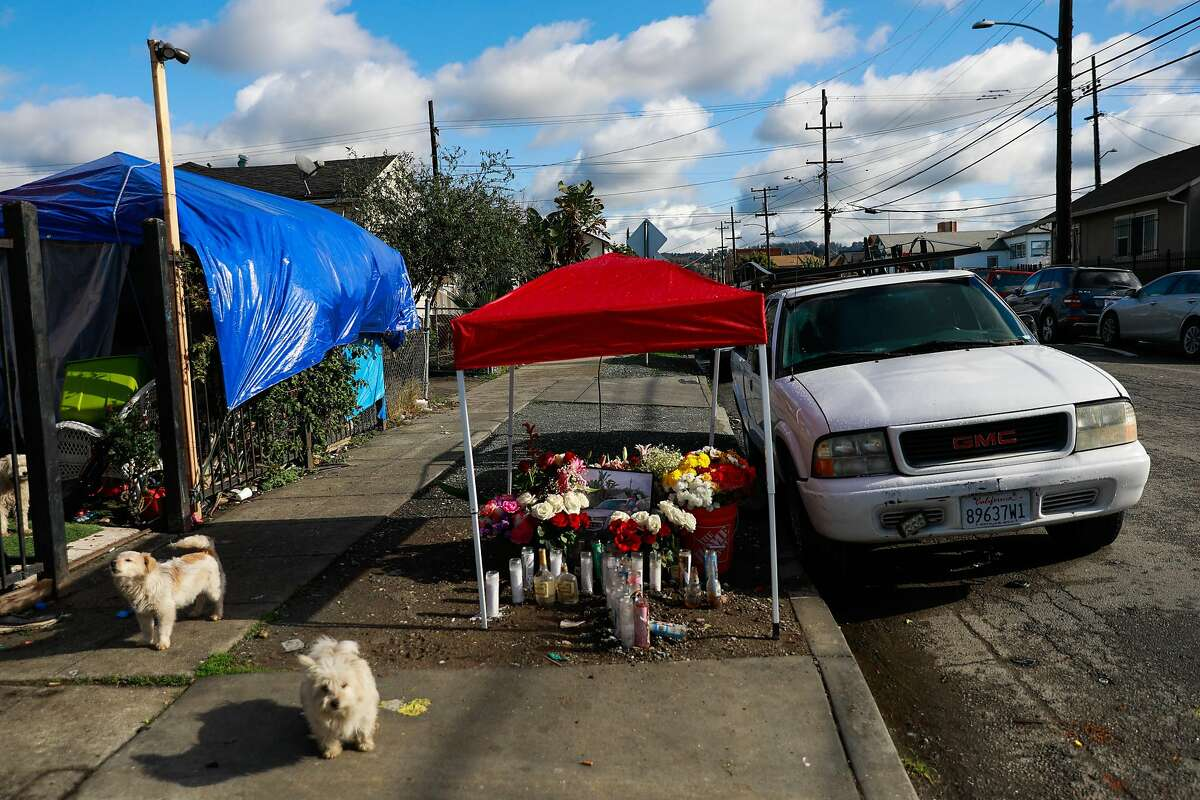 A memorial on the 1200 block of 88th Avenue in Oakland honors Jesus Razo, who was killed there on Jan. 18, one of the 15 suspected homicides in the city during the month.