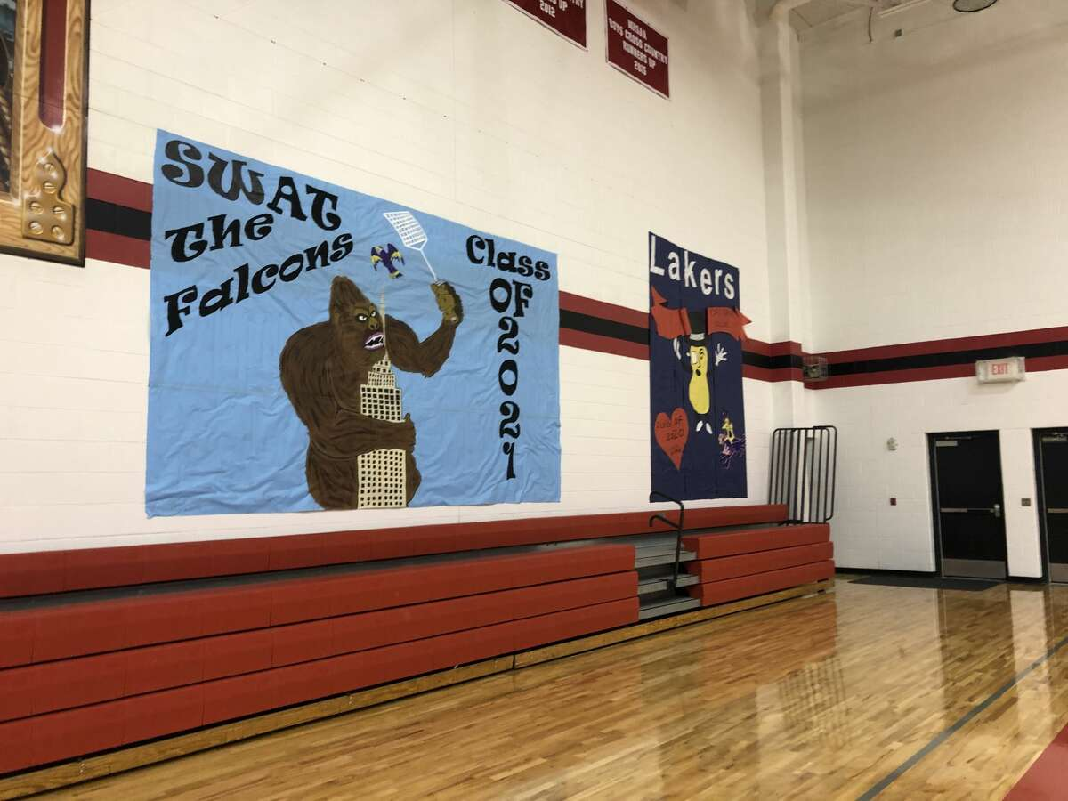 In this file photo, two banners hang in the gym during last year's Spirit Week at Bear Lake Schools. Spirit Week will be limited this year due to coronavirus safety restrictions, but the school still plans to make it a special week for students.