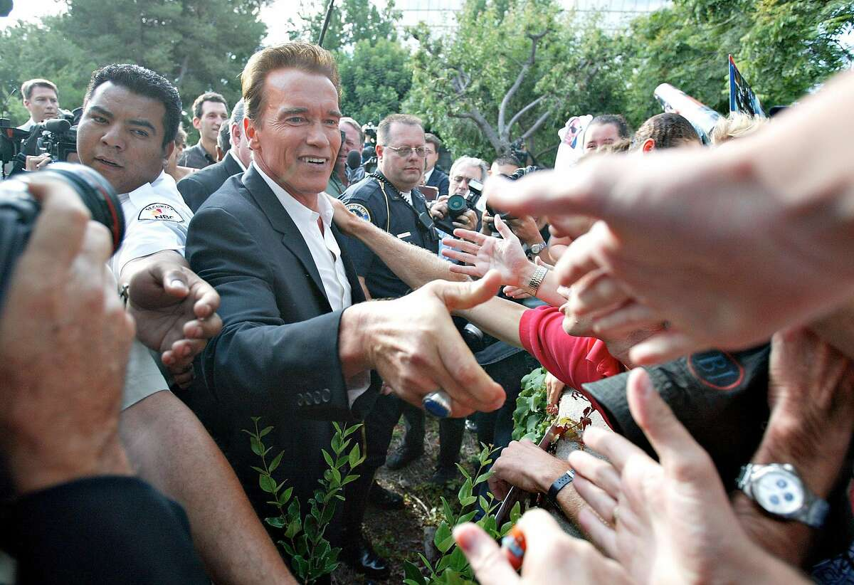 Arnold Schwarzenegger at his first public appearance after announcing his run for governor in 2003.