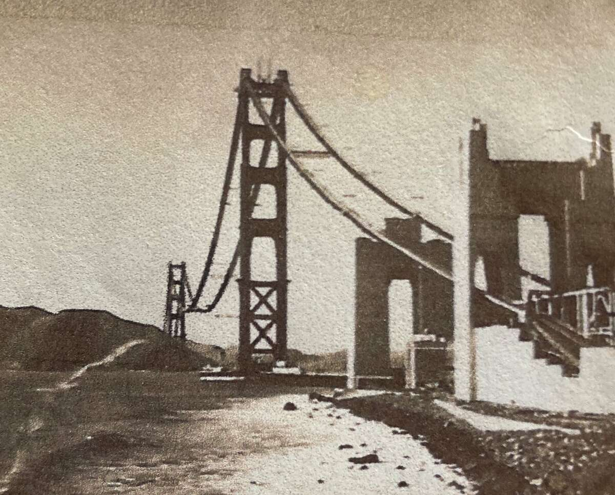 George Dondero in 1935 snuck past a guard and walked up the catwalk of the Golden Gate Bridge, taking photos of the partially finished landmark along the way.