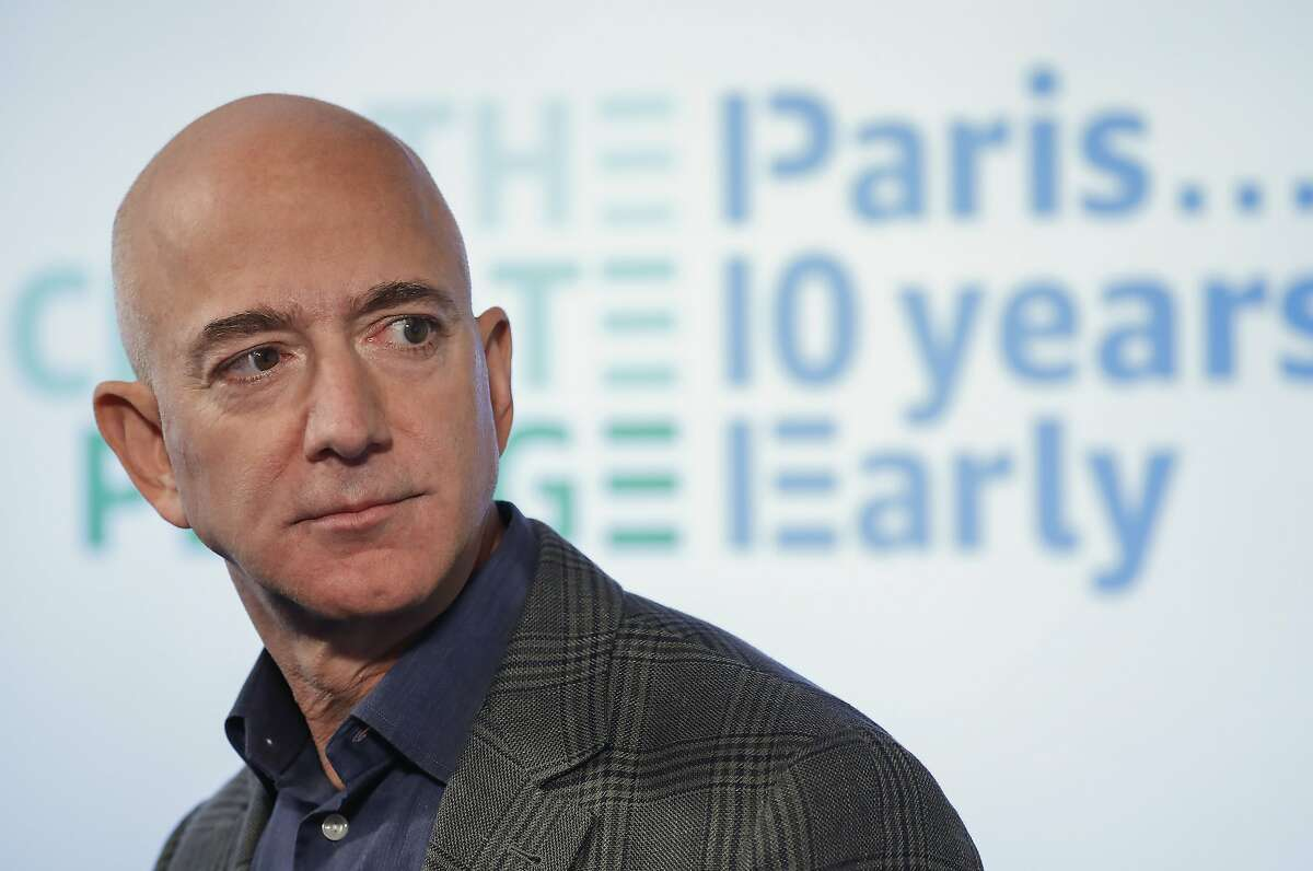 FILE - In this Sept. 19, 2019, file photo, Amazon CEO Jeff Bezos speaks during his news conference at the National Press Club in Washington. (AP Photo/Pablo Martinez Monsivais, File)